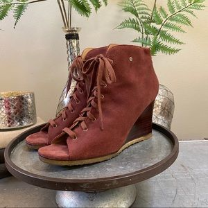 Ugg Elyse Open Toe Lace-Up Wedge Bootie